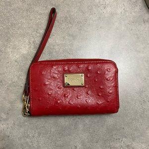 Michael Kors Red Leather Wristlet
